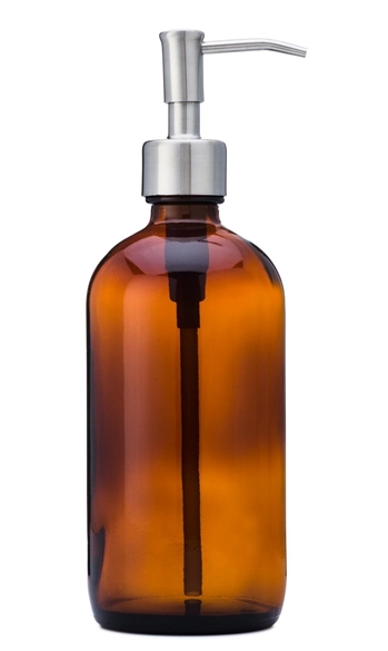 Amber glass bottle soap dispenser with stainless steel pump