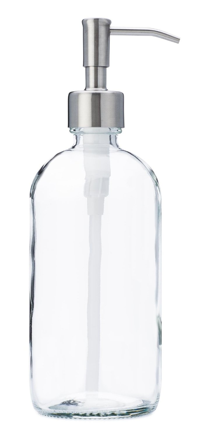 Clear glass bottle with stainless soap dispenser side view