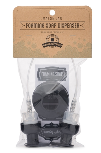 Mason Jar Foaming Soap Dispenser Lids - Black - 2 Pack