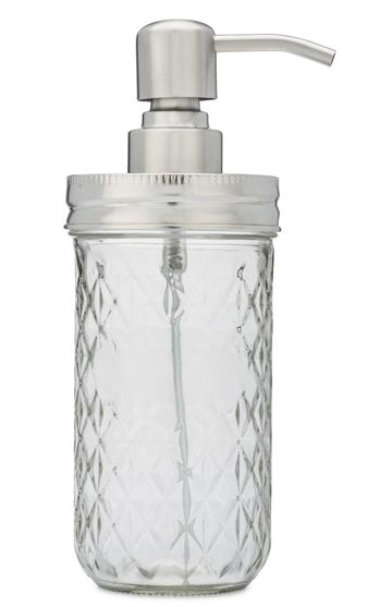 Mason Jar Foaming Soap Dispenser in stainless steel - side view