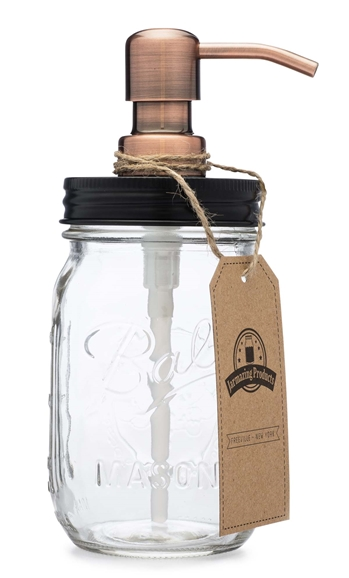 Mason Jar Soap Dispenser - Black lid with Copper Pump - With 16 Ounce Ball Mason Jar