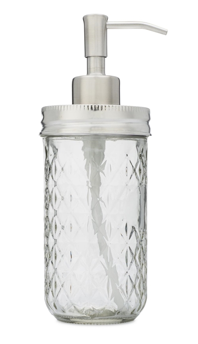 Stainless steel mason jar soap dispenser with 12 oz quilted jelly jar - side view