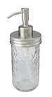 Stainless steel mason jar soap dispenser with 12 oz quilted jelly jar - downward angled view