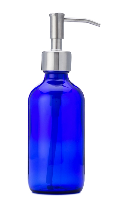 8 oz blue glass jar with stainless soap dispenser