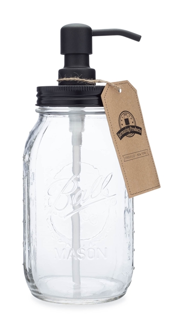 Quart Size Mason Jar Soap and Lotion Dispenser - Black