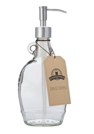 Vintage-Inspired Soap and Lotion Dispenser Bottle - Clear Glass with Stainless Steel Pump - 12 Ounces