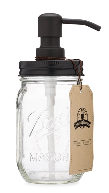 Mason Jar Soap Dispenser - Black - With 16 Ounce Ball Mason Jar - Made from Rust Proof Stainless Steel