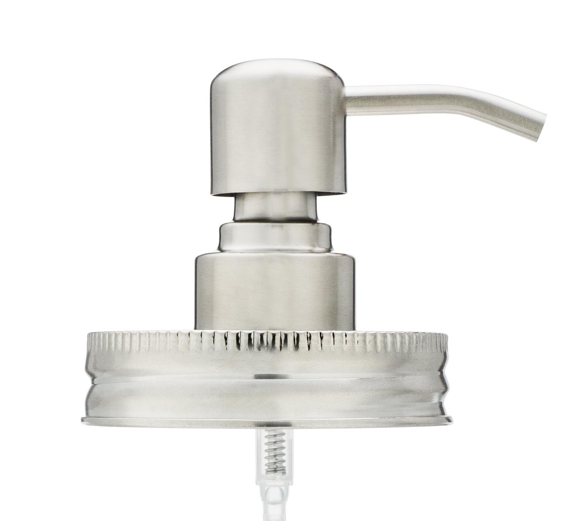Stainless Steel Mason Jar Foaming Soap Dispenser Top Only Side View