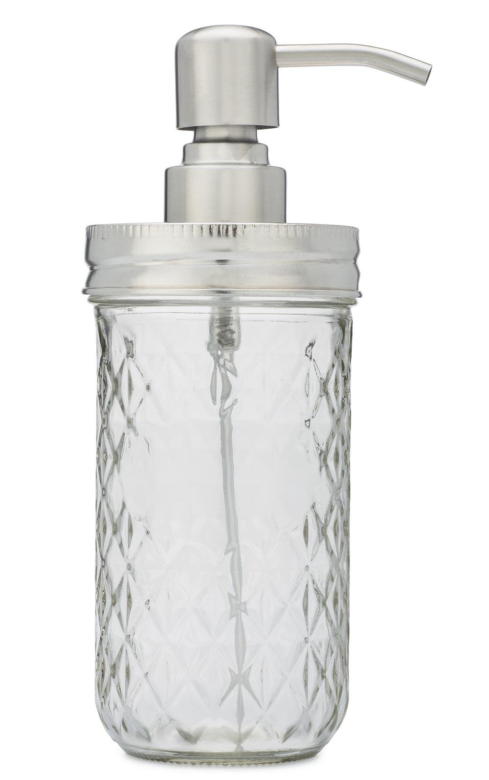 Mason Jar Foaming Soap Dispenser In Stainless Steel Side View